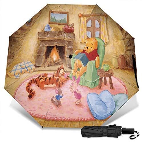 Kompakter Manueller Dreifach Reise Anti-Uv Regenschirm Zum Öffnen/Schließen, Winddichter, Faltbarer, Leichter Sonnenschirm Im Freien, Disney Winnie Pooh Kamin