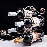 Zpong Bronze S-förmige Vier Flaschen Perlenflocken Weinregal 17 * 15 * 29,5 cm, Schmiedeeisen Creative Display Rack Weinflaschenregal Home