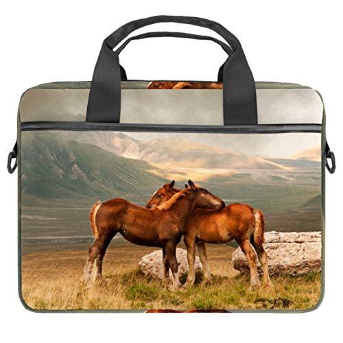 LORVIES Animal Paarden Knuffel Laptop Tas Schouder Messenger Tas Zakelijke Mouw Draaghandvat Tas voor 14 naar 15.4 inch Laptop Notebook