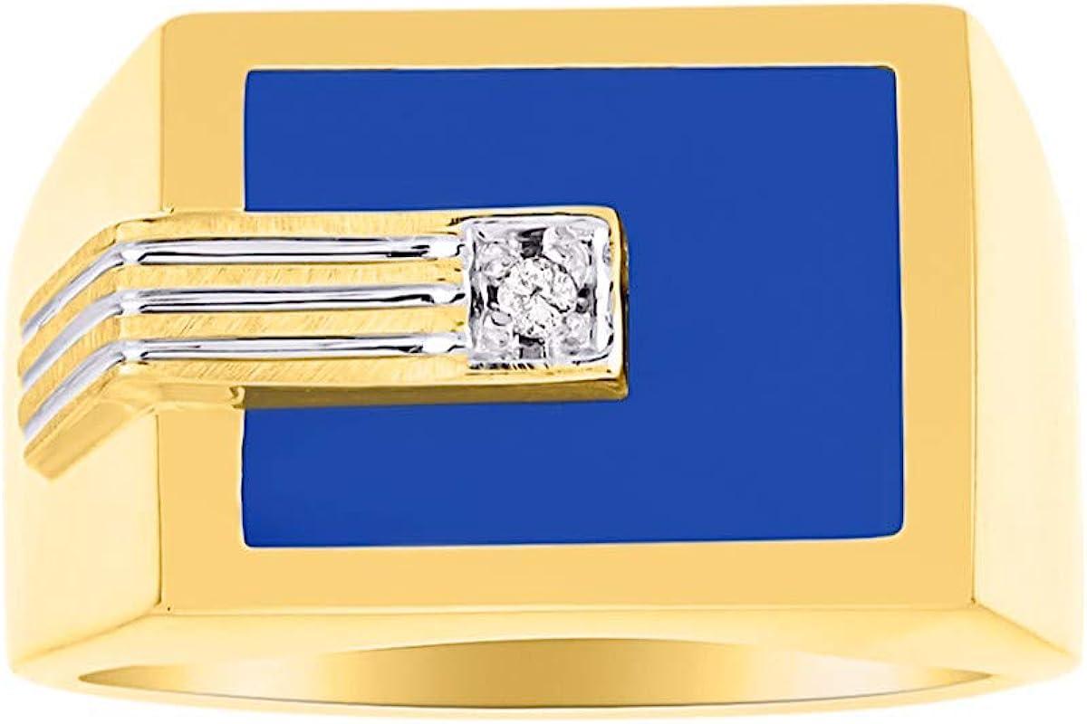Juego de anillos para hombre con diamante y ónix azul/cuarzo azul/ágata azul en plata chapada en oro amarillo.
