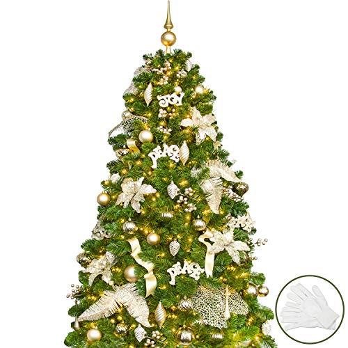 Busybee 180cm Weihnachtsbaum mit 240 LED-Lichtern und 110 Ornamenten Reine Champagner-Weihnachtsdekoration, einschließlich voller künstlicher Christbaumkugeln. USB LED-Lichterketten