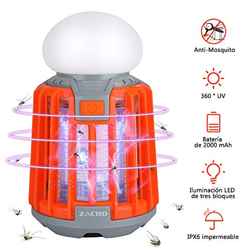 Zacro 2 en 1 Lámpara Antimosquitos IPX6 Impermeable,2000mAh Lámpara Camping, Lámpara LED Portátil Electrico Recargable para Patios, Jardin, Exterior, Acampada
