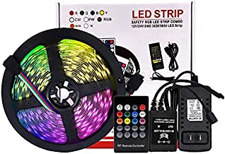 RGB SMD 2835 LED Strip Lights Tape 16.4ft Sound Activated Music Sync TV Backlight for Room Bedroom Kitchen Cars, Color Changing Light Strips with 12V3A Adapter Power