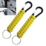 Braided Paracord Lanyard,Paracord Keychain With Carabiner,Braided Paracord Keychain, Used For Water Bottles, Keys, Backpacks, Fixed Baby Carriage Hook Holders.(Yellow)