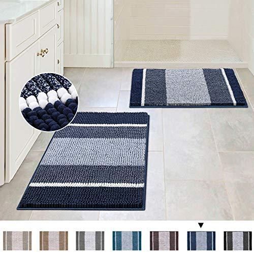 Extra Thick Chenille Striped Pattern Bath Rugs for Bathroom Non Slip - Soft Plush Shaggy Bath Mats...