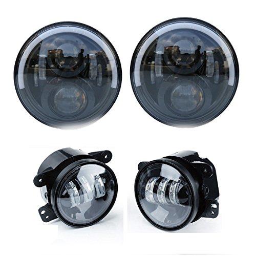 LED phares ronds 17,8 cm semi-circulaire éclairages avant Haut/Bas Faisceau Anneau Bague Lumineux avec DRL Blanc et Clignotant Ambre + Feux de brouillard classique 10,2 cm Auxiliaire Lampes pour tout-terrain SUV (4 pièces)