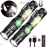 Taschenlampe, Magnet Arbeitsleuchte Wiederaufladbar (18650 Batterie Inklusive) COB USB Taschenlampen AOMEES