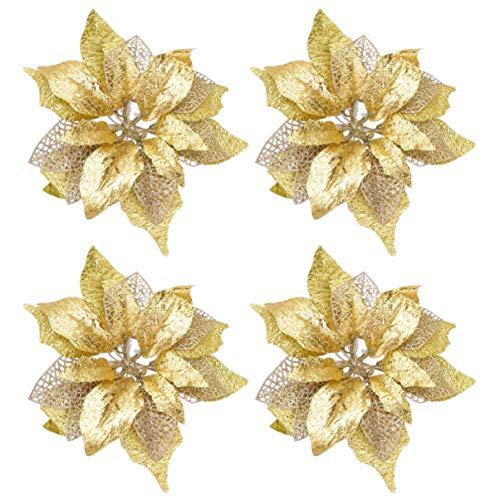 LIOOBO 4 Piezas de Flor de Pascua de Oro Artificial decoración de Flores de Navidad Artificial DIY Craft Adorno de Navidad para árbol de Navidad (Dorado)