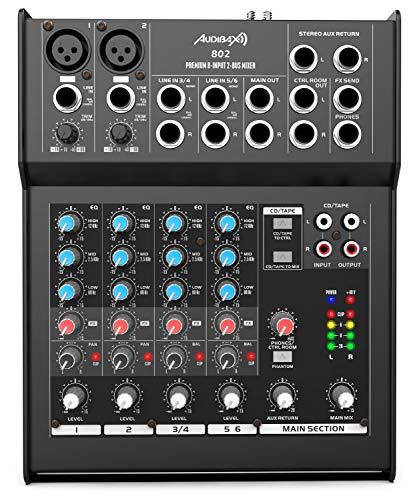 Audibax 802 - Mesa de Mezclas con 6 Canales, Ecualizador de 3 Bandas, Mesa Dj Analógica, 2 Preamplificadores de Micrófono de Alta Calidad, 2 Entradas Estéreo en Formato Jack, Alimentación Phantom