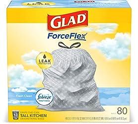 Glad® ForceFlex Tall Kitchen Drawstring Trash Bags – 13 Gallon Trash Bag, Fresh Clean scent with Feb