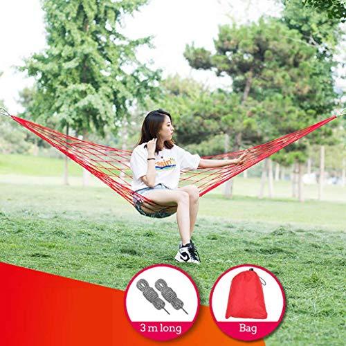 Netvormig Hangmat Met Draagtas, Vrije Tijd Schommel Nylon Touw Belastbaarheid Tot 100kg Voor Bbinnen- Buitenshuis Camping Hangmat-rood