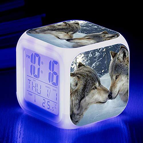 HUA-Alarm clock Niedliche Tier Wolf Bunte Quad Wecker Kreative Kleine Wecker Student Kinder Wecker Geschenke 8X8X8cm/ 16.
