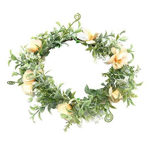 Beaupretty bloemenkroon Halo bloemenkrans hoofdband slinger bruiloft hoofdstuk bloemen hoofdband foto rekwisiet (wit) M. Afbeelding 1.