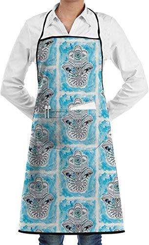 N/A Hamsa Hand Van Fatima Veel Geluk Symbool Blauwe Chef Schort Met Zakken Grill Schorten Voor Vrouwen Mannen Keuken Koken BBQ