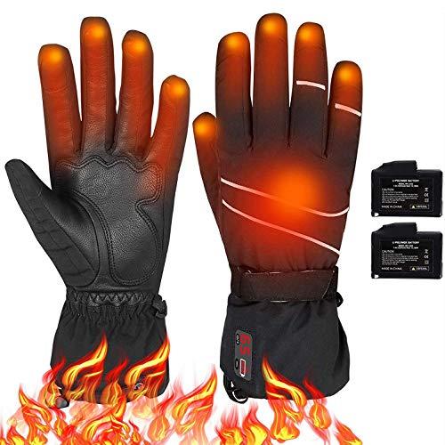 YYQQ Guanti Riscaldati Moto Uomo con Display Digitale Temp Power LCD,Temperatura Regolabile 40-65 ℃,a Batteria, Invernali, Antivento, Impermeabili,Unisex (Size : XL)