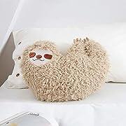Huhu Ma 16'' Sloth Pillow, Animal Pillow (Man's Smiling face)