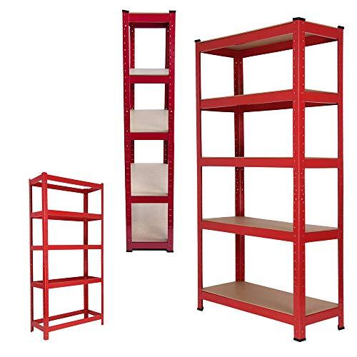 150cm x 70cm x 30cm Boltless 5 Tier Garage Shelving Unit, Heavy Duty Metal Racking Storage Shelves, 175KG Per Layer, 875KG Capacity, For Kitchen, Workshop, Office, Shed, Red, UK Store