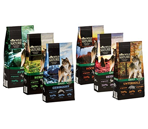 Dehner Wild Nature Hundetrockenfutter Adult, Probier-Set, verschiedene Sorten, 6 x 1 kg (6 kg)