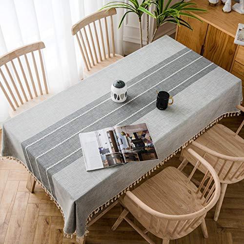 Mantel decorativo de lino a cuadros con borla, impermeable, resistente al aceite, rectangular, grueso, para mesa de comedor (color: gris A, especificación: 140 x 200 cm)