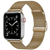 Swhatty Bands Compatible with Apple Watch Band 42mm 44mm for Women Men, Stainless Steel Milanese Mesh Loop Adjustable Strap Replacement for iWatch Series 6/5/4/3/2/1/SE, Light Gold
