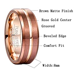 NUNCAD Tungsten Engagement Ring Grooved for Men Women Beveled Edge Comfort Fit Size Z+1 #4