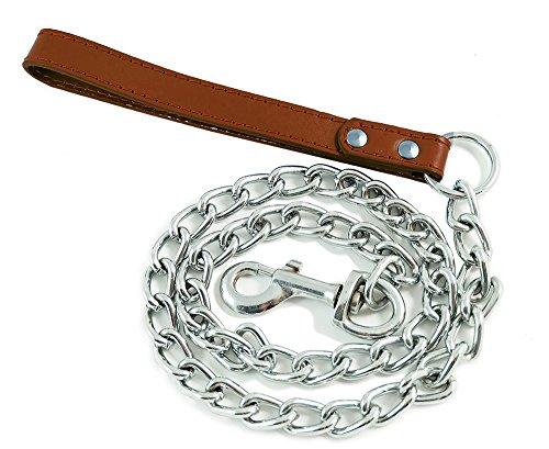 BPS® BPS-2763MA - Catena in metallo per cani con controllo di maniglia e guinzaglio per passeggiare con il cane, con manico in pelle e catena, 4 colori e 3 misure a scelta, 3 x 100 cm, marrone