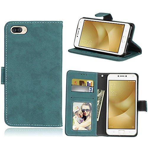 Funda Asus Zenfone 4 Max ZC520KL Case,Bookstyle 3 Card Slot PU Cuero cartera para TPU Silicone Case Cover(Azul)