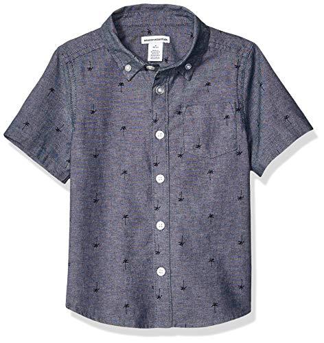 Amazon Essentials Jungen-Kurzarmshirt Poplin/Chambray, Light Chambray Palm, US M (EU 128 CM)