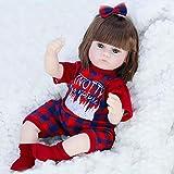 KUMADAI Muñeca Bebe, Renacimiento Muñeca Simulación Juguete para Bebés Hijos Comodidad Sueño Protección Ambiental Muñecas De Silicona Suave Reborn Muñecas16 Pulgadas,Red Plaid