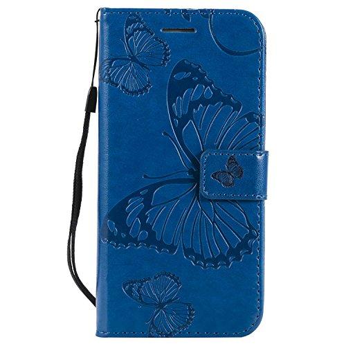 DENDICO Cover Galaxy S6 Edge, Pelle Portafoglio Custodia per Samsung Galaxy S6 Edge Custodia a Libro con Funzione di appoggio e Porta Carte di cRossoito - Blu