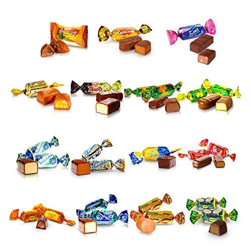 1 KG Süßigkeiten Schoko-Pralinen Mischung kasachisches russisches Konfekt Mix Party Box Rakhat im Schlemmerpaket Großpackung 15 Sorten (Schokopralinen)