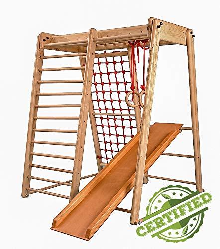 Kinder zu Hause aus Holz Spielplatz mit Rutschbahn ˝Malček-3˝ Kletternetz Ringe Kletterwand !Zertifikat!