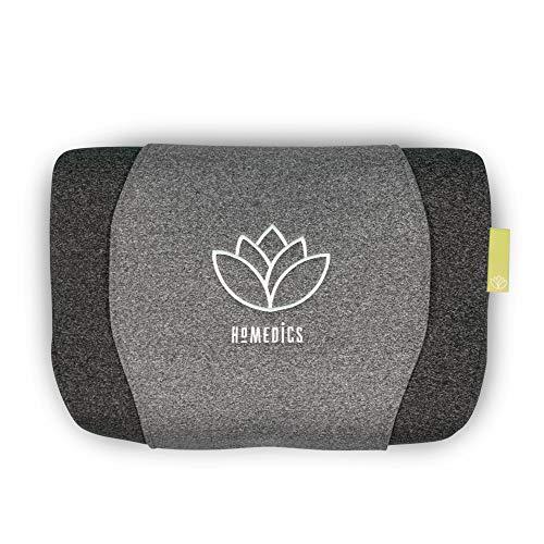 HoMedics Zen Meditationskissen, Memory Foam Nackenstützkissen, Aromalabel zur Verwendung mit ätherischen Ölen, extra beruhigende Rollenmassage, super leise, kabelloser Schlafbetrieb, grau