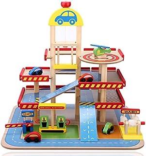COIL Zabawka dla dzieci drewniana domek parkingowy garaż samochodowy 3 poziomy helikopter