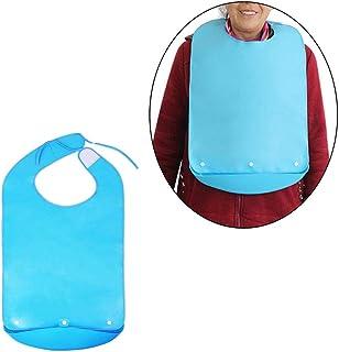 45x75cm reutilisable personnes agees BNFUK Bavoirs impermeables pour adultes bavoirs avec poche handicapes bleu lavable fermeture Boucle