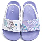 Boys Girls Slide Sandals Toddler Little Kids Water Shoes Swim Beach Pool Sandals with Back Strap (Purple/White/Mermaid, numeric_8_point_5)