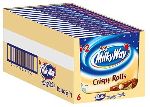Milky Way Waffelröllchen   Crispy Rolls, Milchcreme   Jeweils 6 Riegel in 18 Packungen (18 x 6 x 25 g)