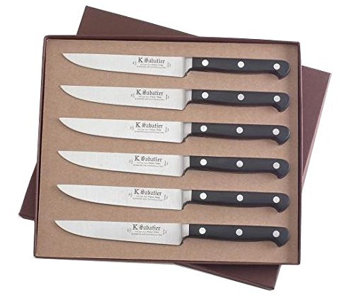 K SABATIER - Coffret De 6 Steaks 13 Cm Gamme Proxus - Acier Inoxydable - Manche Noir - 100% Forge - Entièrement Fabrique en France