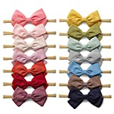 14 Pack Baby Girls Nylon Headbands Linen Hair Bows Hairbands Handmade Hair Accessories for Newborn...