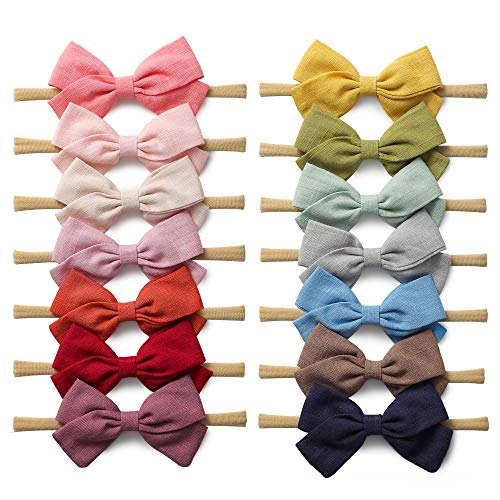 14 Pack Baby Girls Nylon Headbands Linen Hair Bows Hairbands Handmade Hair Accessories for Newborn Infant Toddlers Kids