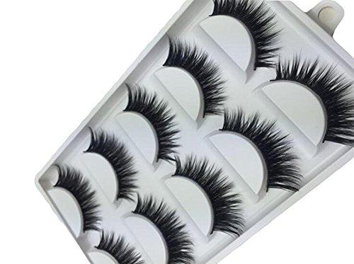 Dosige Pestañas postizas (5 Pares) Mirada Natural 3D Reutilizable de Las Pestañas Extensión de Pestañas Fibra Ultra Delgado sin Alergia al Pegamento Maquillaje de Moda Serie Chica