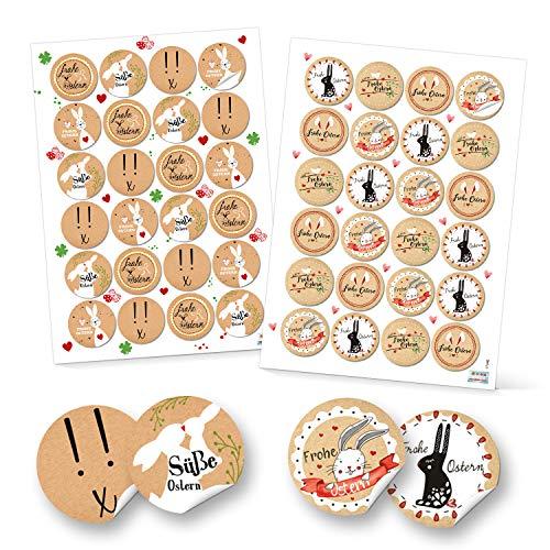 Logbuch-Verlag Lot de 48 autocollants « Joyeuses Pâques » - Décoration de Pâques multicolore - Autocollants ronds - Emballage cadeau pour enfants - Beige rouge blanc noir
