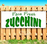 Farm Fresh Zucchini 13 oz Heavy Duty Vinyl Banner Sign with Metal Grommets, New, Store, Advertising, Flag,...