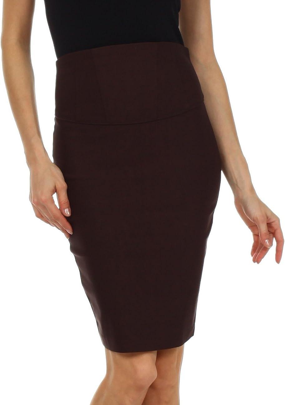 Knee Length High Waist Stretch Pencil Skirt