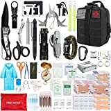 Emergency Survival Kit First Aid Kit, 300 PCS Outdoor Survival Gear Tool Kit SOS Survival Tool with Molle EMT IFAK Pouch for Hiking Camping Hunting Car Travel or Adventures