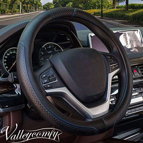 Valleycomfy Steering Wheel Covers Universal 15 inch - Genuine Leather, Breathable, Anti Slip & Odor Free (Black with Blue Lines)