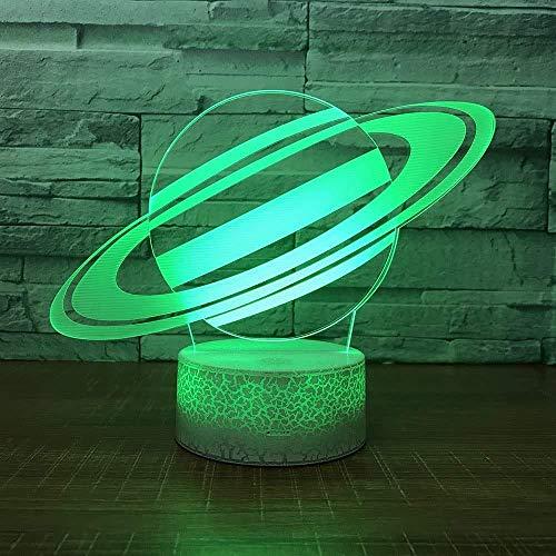 Luz nocturna 3D universe planet lámpara de mesa LED lámpara deslizante 3D lámpara de mesa 7 colores cambiantes luz nocturna regalo para niños base blanca con interruptor táctil luz tridimensional