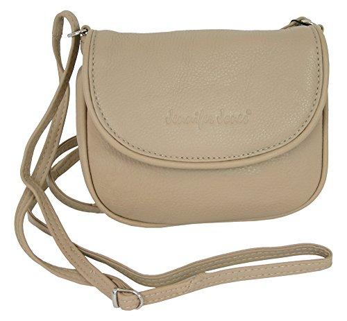 Jennifer Jones kleine echt leer dames schoudertas schoudertas beige crossover handtas avondtas crossbody bag (6210)