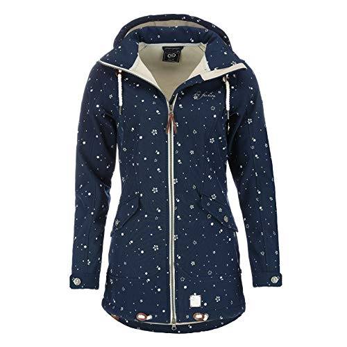 Dry Fashion Damen Softshell–Mantel Keitum Farbe Navy, Größe 38