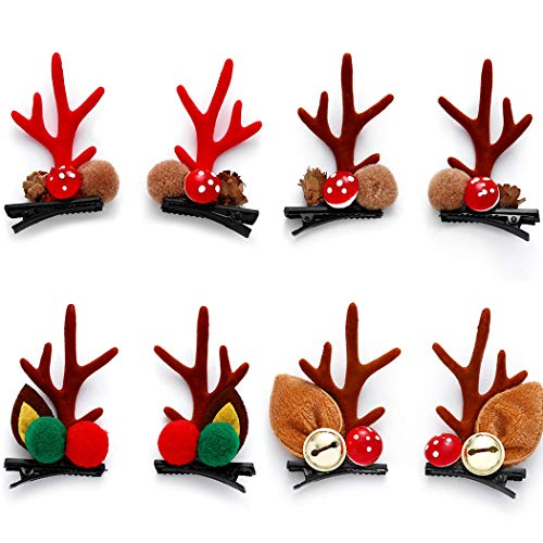Campsis 4 Pairs Christmas Hair Clips Cute Reindeer Antlers Hairpin Bells Christmas Elements Lovely Xmas Headband Headpiece Party Costume Cosplay Gifts for Women and Girls Kids (A)